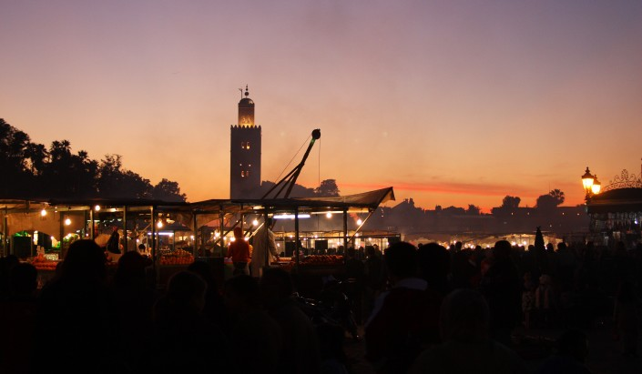 The sun sets over Koutoubia Mosque, Marrakesh