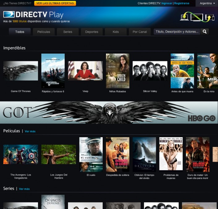 DIRECTV Play Home page