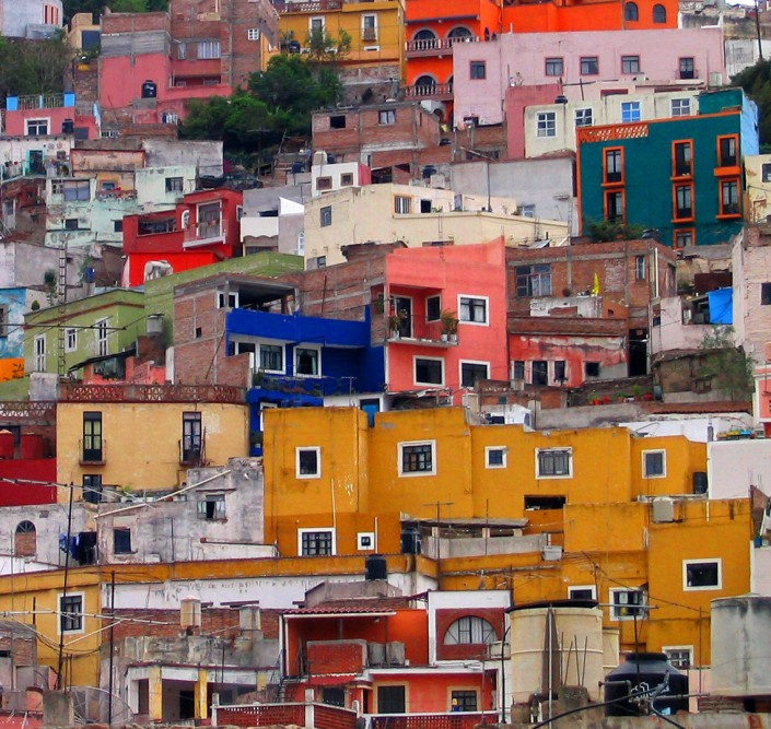Houses on the hillside in Guanajuato